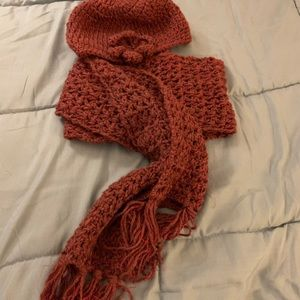 Hand-Knit Scarf and Hat Set